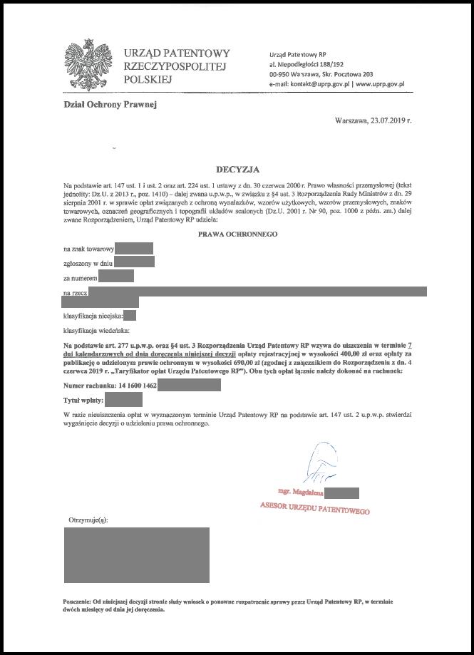 Sfałszowana decyzja Urzędu Patentowego RP