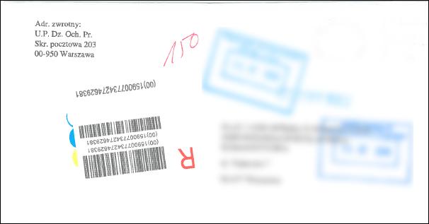 Sfałszowana koperta z Urzędu Patentowego RP